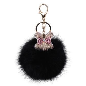 hongtaifushiyouxiangongsi Cute Rabbit Head Real Fox Fur Ball Keychain Bag Charm for Purse (5)
