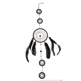 Dream Catcher Handmade 5 Circles Feather Wall Hanging Cobalt Blue Ornament