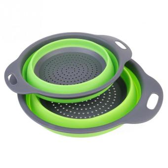 2 pcs Collapsible Silicone Colander/Strainer Kitchen Environmental Protection Durable Folding Rubber Hopper Filter Basket Green - intl