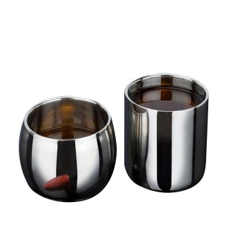 Hot Selling Stainless Steel Double-layer Anti-hot Hollow Coffee Cup Mug Double Layer Scald-proof Drinkware 150ML - intl