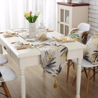 32*180cm American country style Tablecloth Table Runner Dining Top Deco (Golden) - intl