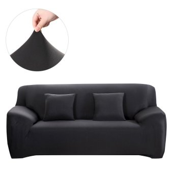 WINOMO Stretch Arm Elastic Slipcover For Chair Loveseat Sofa Furniture Shield / Protector & 2pcs Pillow Case (Black) - intl