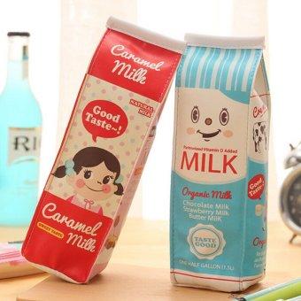 Harga Cantik susu kotak Pencil Case pena dudukan gulungan kantong kosmetik make up saku tas merah