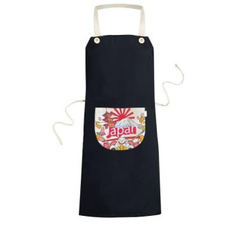 Japan Culture Cute Colorful Temple Lucky Cat Fan Sakura Petal Sushi Fuji Lantern Hand-decorated Illustration Pattern Cooking Kitchen Black Bib Aprons With Pocket for Women Men Chef Gifts - intl