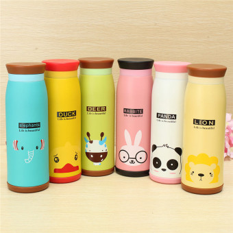 olourful Cute Cartoon Thermos Insulated Mik Water Bottle 500ml / Thermos - Yellow