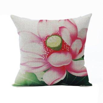Nunubee Vintage Flower Pillow Cases Cotton Linen Cushion Cover Home Pillowcase Lotus Throw Pillow Style 7