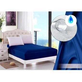 Alona Ellenov Sarung Kasur Waterproof (Anti Air) Warna Biru Tua Uk 90x200x15cm - Biru