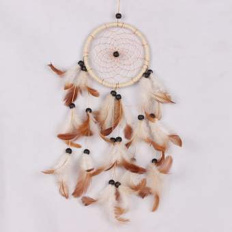 Handmade Dream Catcher Net with Feather Wall Hanging Decor Beige Gift - intl