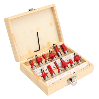 """Harga 12pc 1/2"""" Router Bit Set Shank Tungsten Carbide Rotary Tool With Wood"""