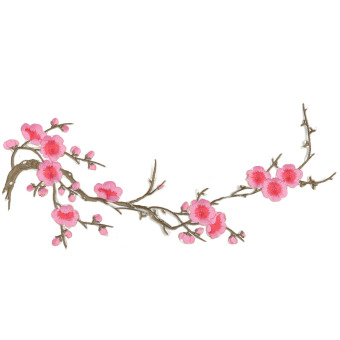 Beautiful Embroidered Plum Blossom Flower Patch Iron/Sew on Applique Motif Craft Pink- intl