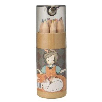 12 Color Set Fine Art Drawing Non-toxic Oil Base Pencils Sharpener Artist Sketch Cat- intl