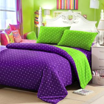 Jaxine Sprei Tinggi 30cm Motif Polkadot Warna Purple Green