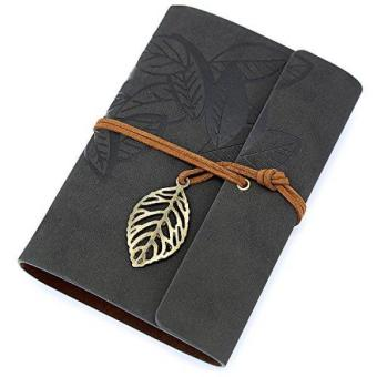 Black PU Leather Cover Loose Leaf Blank Notebook Journal Diary Gift