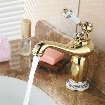 Tap hot and cold basin continental Cu all bench basin sink vanity tops Golden Art basin mixer rose gold-plated color, Raised height rose gold bench Basin - intl