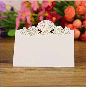 BolehDeals 50 Laser Cut Lovely Shell Name Place Cards Wedding Guest Table Cards White
