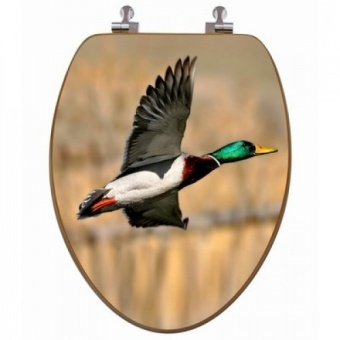 Topseat 3D Upland Series Elongated Mallard Duck Flying Toilet Seat with Regular CP Hinges - intl