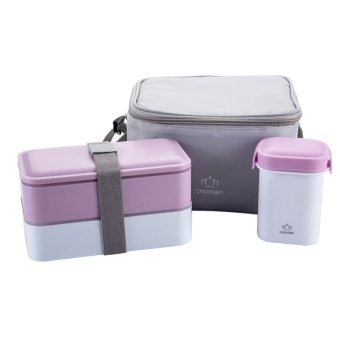 Bento Box Insulated Lunch Box Set. Best Bento box Lunch Bag for Adults with Divided Plates, Leak Proof Containers, Cup and Cutlery for Portion Control and Healthy Eating(Pink)