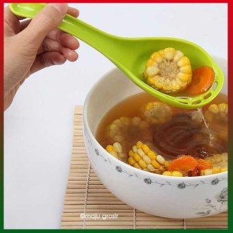 Universal Sendok Sayur Sup Dengan Penyaring Kuah Colander Spoon Hijau