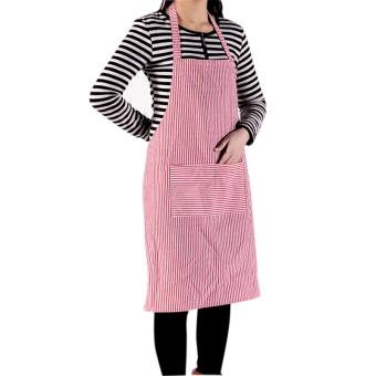 New Rok Bergaris Pelayan Dapur Koki Memasak Celemek Berwarna Merah Muda