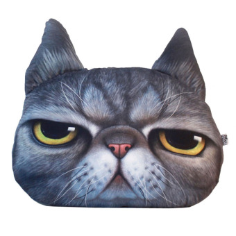 Yazilind Animal 3D Printing Personalized Cat Meow Star Black Pillow Cushions 38x48cm - Intl