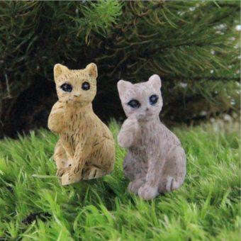 2 PCS Mini Animal Figurine Miniature DIY Bonsai Decoration Lovely Cat Micro Landscape Fairy Garden Ornaments - intl
