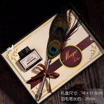 Marvogo Antique Nature Feather Dip Pen Set English Calligraphy Carved Pen New Year Gift Creative Gift Birthday Gift Quill Pen Stationery Gifts(nanjue owl) - intl