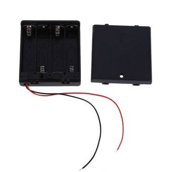 Brand New 5 Pcs 4 AA 2A Charger 6V Holder Box Case with Switch Lead Black