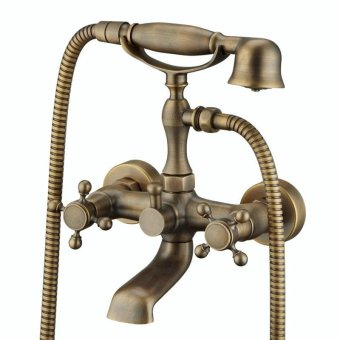 All copper wall mounted antique bathtub mixer continental retro bath shower faucet - intl