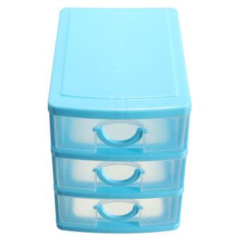 Harga Kotak penyimpanan Desktop 3 laci lemari dudukan Organizer perhiasan biru