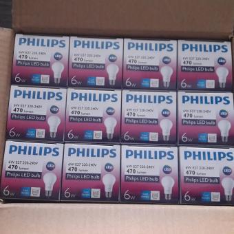 Harga 12 pcs LED 6 watt Bulb Phillips / Lampu LED Putih