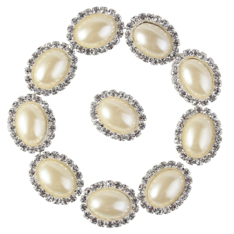 30 Pcs Charming Rhinestone Pearl Silver Tone Shank Round Button Sewing Craft(Pearl)