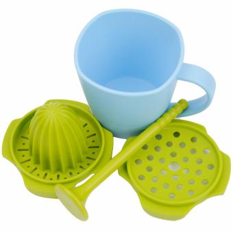 Multifunctional Grinding Juice Cup Juicer Grinder Stir Stick Cup Set Green Blue