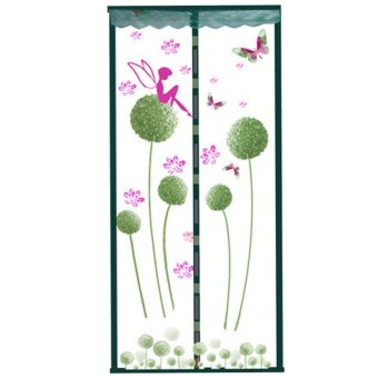 Magnetic Mesh Net Screen Door Curtain Full Frame with Fresh Dandelion Patterns Breathable Close Automatically Keeps Bugs Mosquitoes Out 35 x 83inch Green - intl