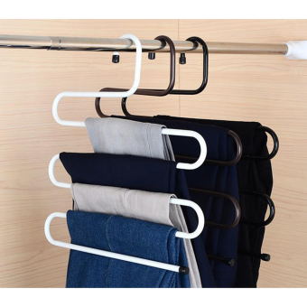 FK049 Multifunction S Shape Trousers Pants Rack 5 Layer Stainless Metal Clothes Hanger