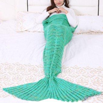 Mermaid Blanket for Children Mermaid Tail Blankets Knit Cashmere-Like TV Sofa Blanket Soft Throw Bed Wrap Sleeping Bag 145X70CM - intl