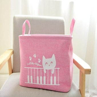 Cartoon EVA Fabric Closed Laundry Basket for Clothes Folding Storage Basket Modern Clothes Basket 38*27*25cm - intl