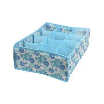 Harga Okdeals 12 Cells Socks Underwear Drawer Closet Home Organizer Storage Box Case (Blue)