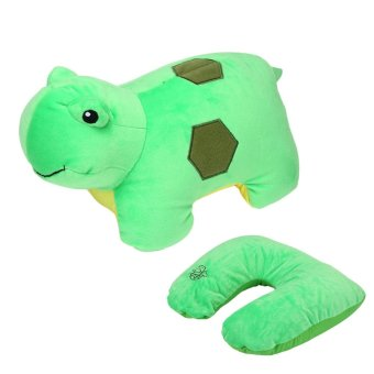ooplm Travel Pillow Convertible 2-in-1 Adorable Travel Companion U-Shaped Pillow,Green Turtle - intl