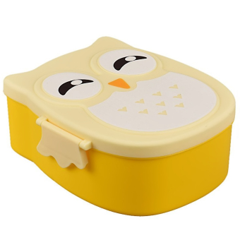Kids Adults Owl Style Lunch Box Food Container Storage Box Portable Bento Box Yellow