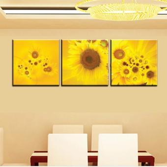 Harga Baru 3 buah Tembok besar modern lukisan cat minyak abstrak Kuning Sunflower dinding seni melukis