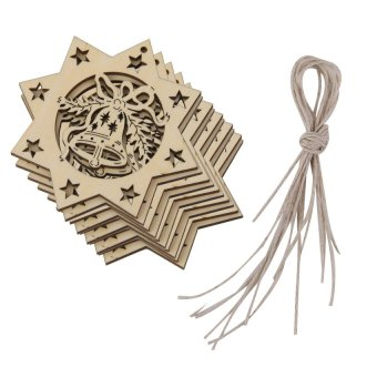 RIS 10pcs Laser Cut Jingle Bells Star Wooden Tag Embellishment with String