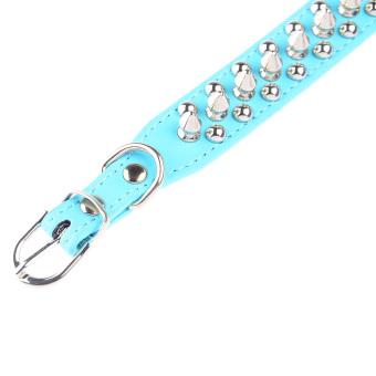 360DSC Punk Style Round Bullet Nail Rivet Studded Soft PU Leather Pet Dog Puppy Collar - Blue (Intl)