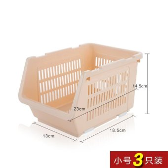 Built-In Shelf Thick Fruits And Vegetables Debris Admit Bonnets Shelf Kitchen Supplies 3 Pack , Small Beige 3 Pack - intl