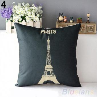 Retro Home Decorative Linen Cotton Blended Crown Throw Pillow Case - intl