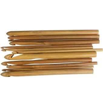 moob 12 Sizes Bamboo Crochet Hooks Knitting Needles (3.0-10mm,Pack of 12 Pcs)