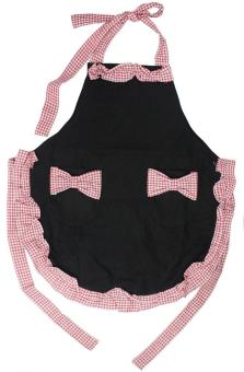 moob Korea Style Lotus Leaf Bow Women Ladies Cotton Red White Grid Housewife Cooking Apron