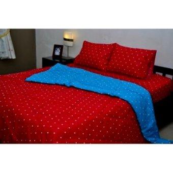 Jaxine Bed cover Katun Polkadot Merah Biru