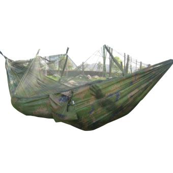 Camping portabel luar ruangan tempat tidur gantung nilon + kelambu (kamuflase)
