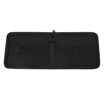 37-Slot Canvas Folding Pencil Pen Zipper Storage Wrap Holder Organizer Bag Case Black - Intl