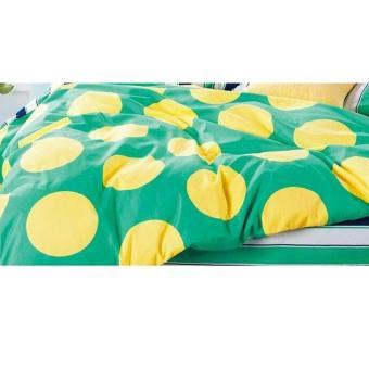 Alona Ellenov Polkadot Yellow Green Bed Cover Set Katun Jepang Super – Hijau